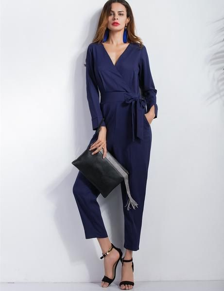 Blue V-Neck Long Sleeves Jumpsuit Ankle Length with Pocket and Tie #jumpsuit #vneck #longsleeves