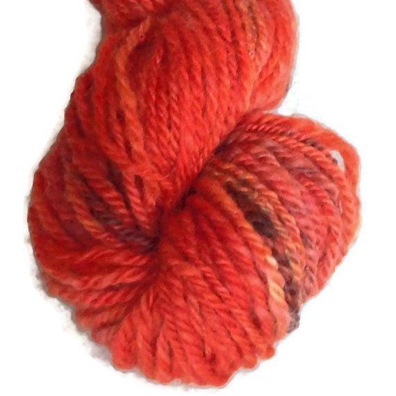 Luxury Handspun Hand Dyed 3-ply Corriedale Wool Yarn Worsted, Red Orange Wool Yarn, Flora Danica Poppy, Red Worsted Handspun Yarn EU SELLER