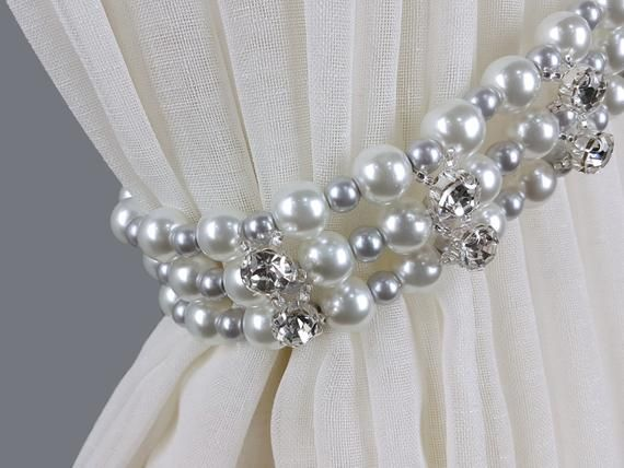Curtain Tie Back Pearl With Three Rows Of Glass Beads White D10mm