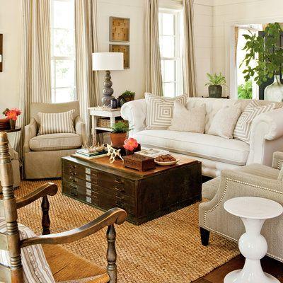 Large Pillows on large sofa.  Living Room - Farmhouse Restoration Idea House Tour - Southern Living