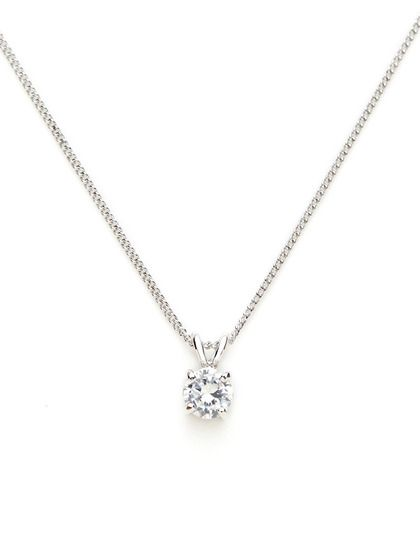 The simple round diamond necklace: Round CZ Mini Pendant Necklace by CZ by Kenneth Jay Lane