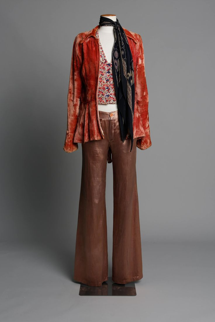 Crushed velvet jacket with blouse & pants 1970s LABEL: Unlabelled Tigermoth (jacket), Hullabaloo (blouse), Biba from London (pants)