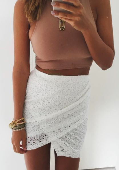 camel crop top + eyelet skirt