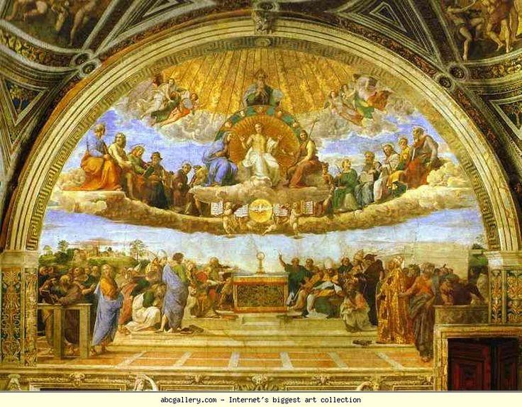 Raphael. Disputa. 1510-1511. Fresco. Vaticano, Stanza della Segnatura, Rome