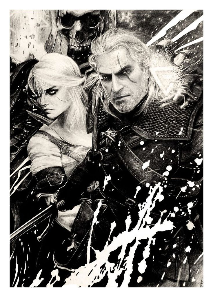 So many years and never had an account here ... I have to change it. I started to read The Witcher, previously I played game... and I thought that draw Geralt and Ciri. So.. Pencil...