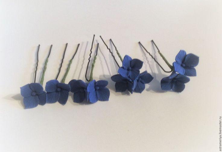 Купить Шпильки для волос синяя гортензия из полимерной глины - тёмно-синий, синий, гортензия, гортензии