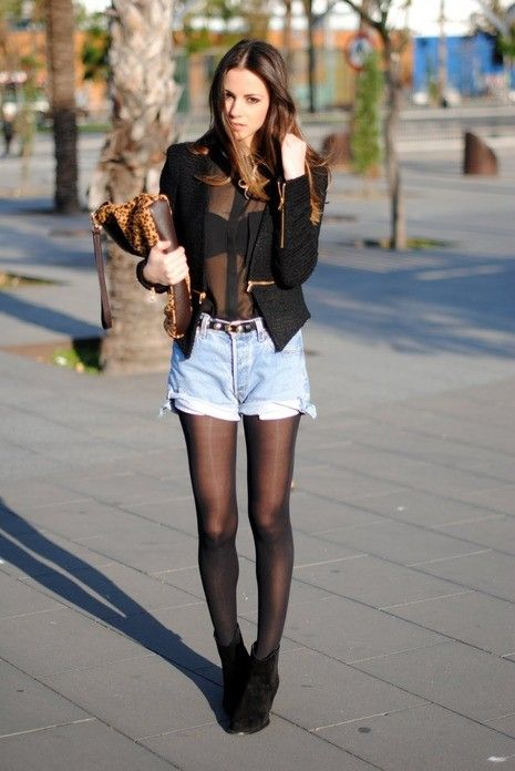 High Waisted Jean Shorts Fall Outfit | My Style ...