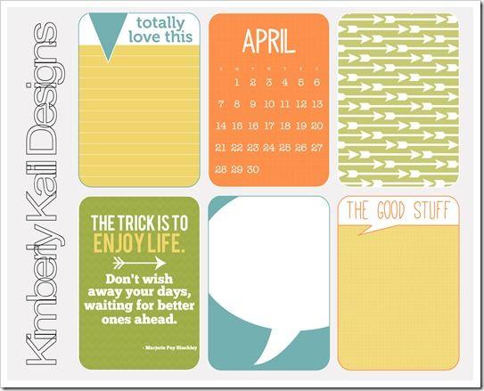 April 2013 Journaling Cards Freebie #freeprintables