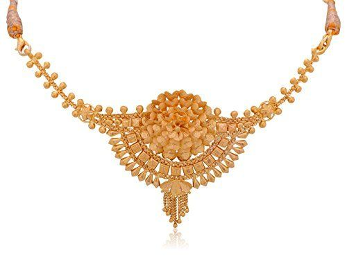 yellow traditional gold senco marriage indian pin chain necklace