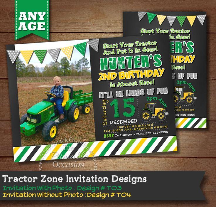 Tractor Birthday Invitation, Farm Invitation, Tractor Invitation, Printable Invitation, Tractor Party, Tractor Birthday, Boy Birthday Invite by ThePrintableOccasion on Etsy https://www.etsy.com/listing/173964136/tractor-birthday-invitation-farm