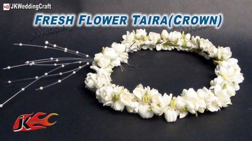 DIY Fresh Flower Tiara / Crown / Mukut | How to make  JK Wedding Craft 009