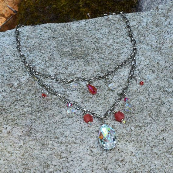 Casino grand chandelier crystal necklace made by creativedogstwo, $45.00