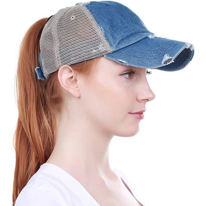 Ponytail Vintage Baseball Cap Sports Messy High Bun Hat Adjustable Trucker Baseball Cap for Women