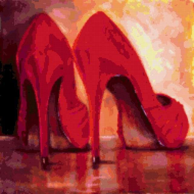 Схема вышивки «Красные туфли»