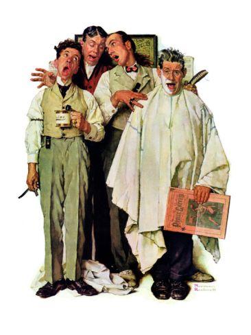 """Barbershop Quartet"", September 26,1936 Giclee Print by Norman Rockwell at  Art.com"