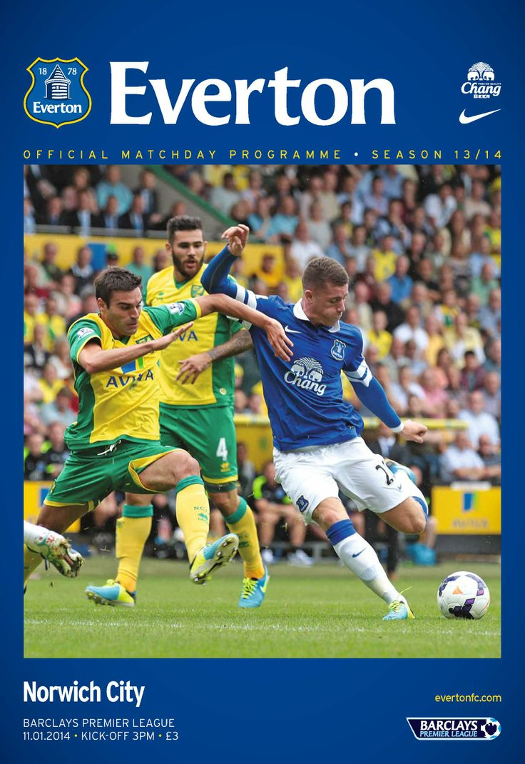 Everton Publications - Everton v Norwich City : Official matchday programme for the Everton v Norwich City Premier League fixture, Saturday 11th January, 2014.