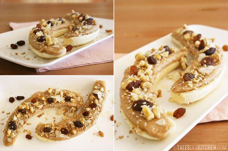 almond butter and banana open sandwich