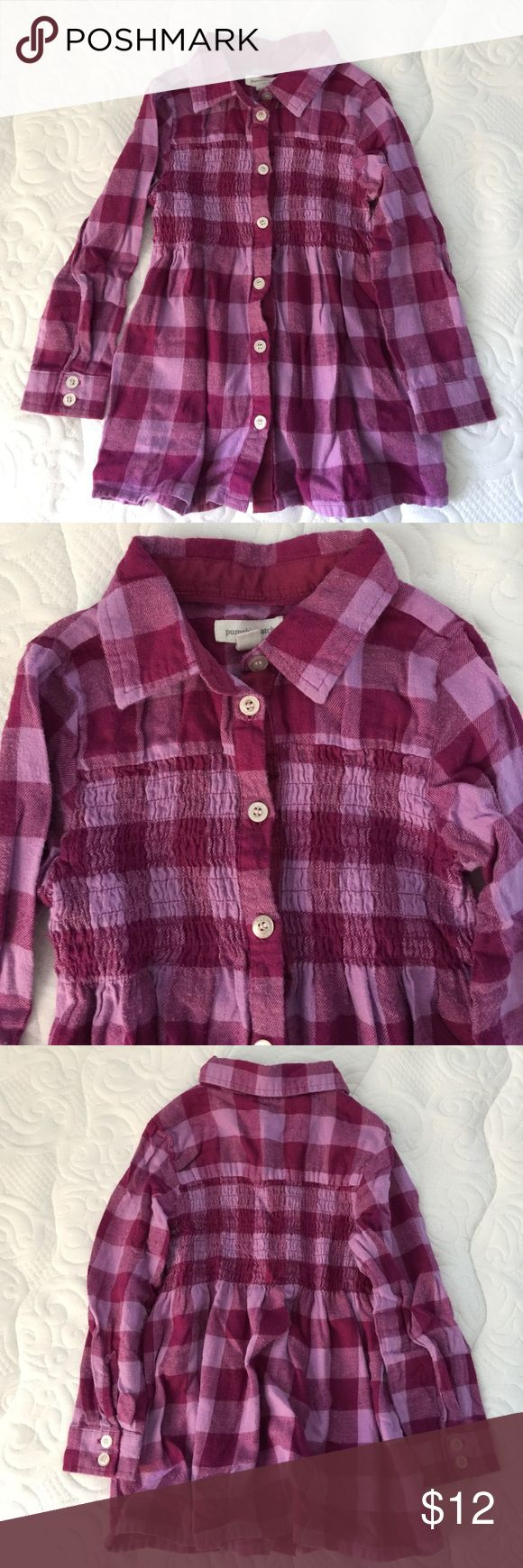 Smocked flannel tunic top Soft purple flannel buffalo check tunic. Smocked front and back. Excellent condition. pumpkin patch Shirts & Tops Button Down Shirts