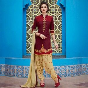 Maroon Embroidered Work Patiala Suit