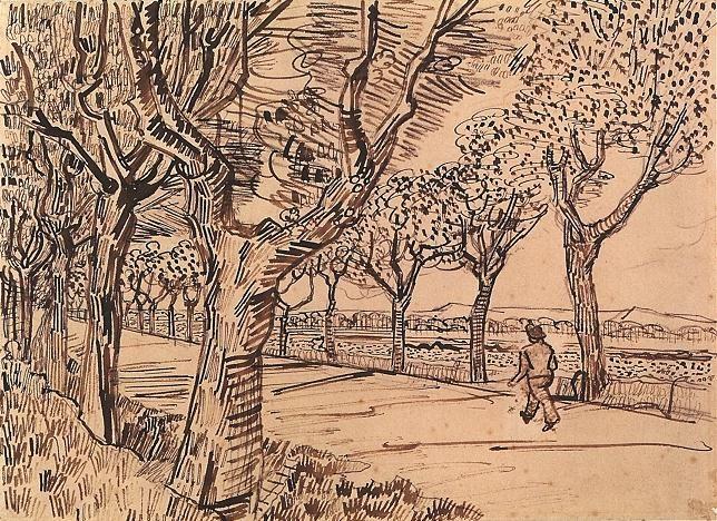 Vincent van Gogh: Road to Tarascon, The  Arles: July, 1888 (Zurich, Kunsthaus Zurich, Graphic collection)