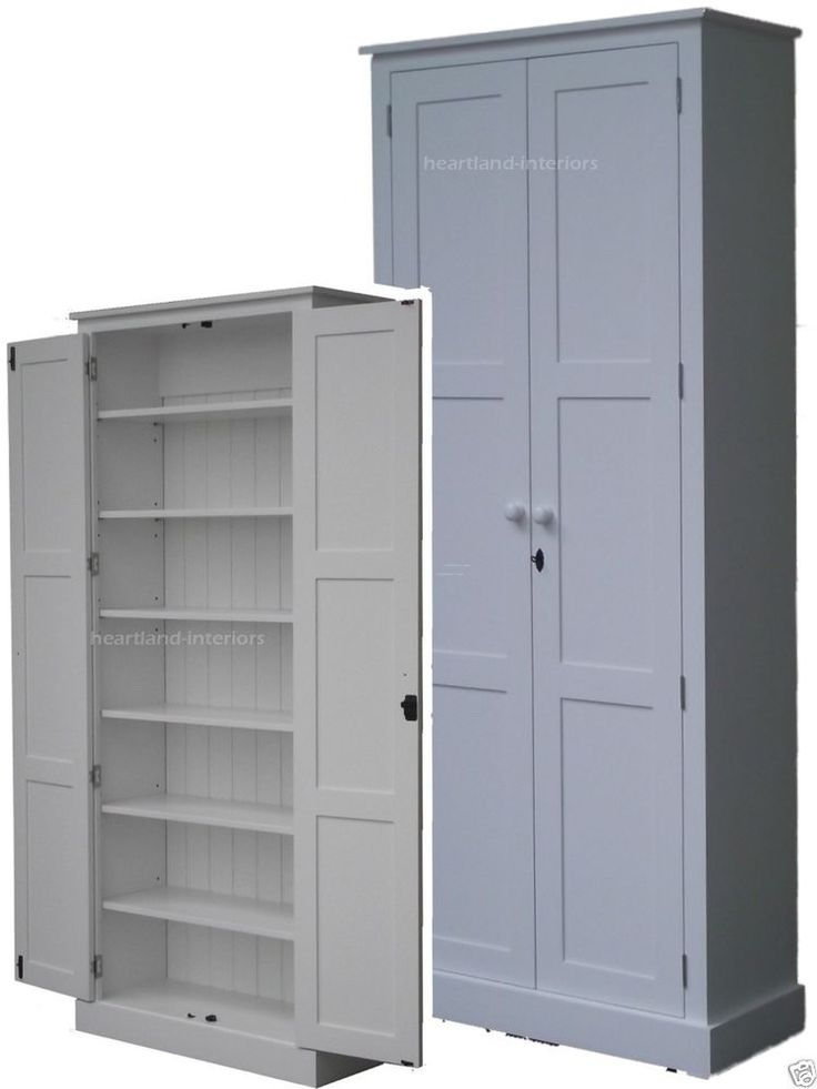 Details About Solid Pine Cupboard 2 Metre Tall White