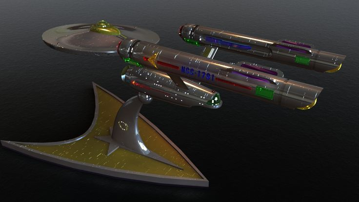 USS Enterprise NCC-1701 Model downloaded from the web (author unknown). Remodelling for crystalline parts and resurfacing by Bilzebub, rendered in Lightwave 3D. Starfleet Comms Insignia Model Stand created by Bilzebub. If you re the author of this starship model, let me know and proper credit will be applied.