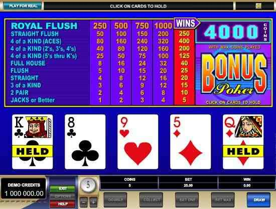 Bonus Poker – Free Video Poker Game
