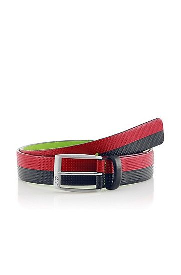 Cintura `Tonio' in pelle di vacchetta, bicolore, Rosso scuro