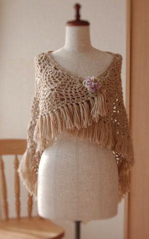Crochet shawl   Beige