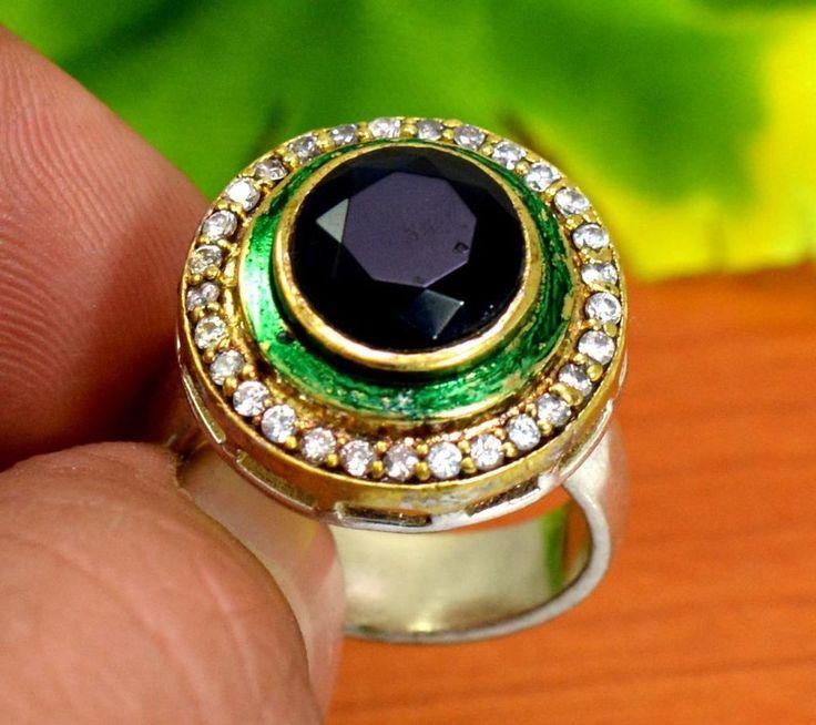"Sapphire Gemstone Turkish Victorian 925 Silver Plated Ring Size US 7 3/4"" R268 #krishnagemsnjewels #Solitaire"