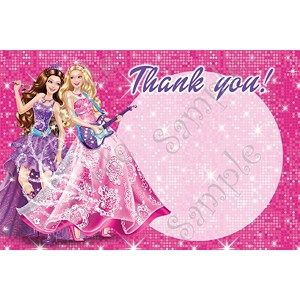 Barbie Princess and the Pop star birthday party Thank you card