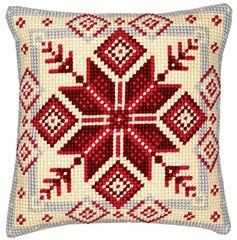 Nordic Snowflake chunky cross stitch cushion front kit Vervaco