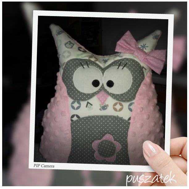 sowa poducha minky puszatek.blogspot.com