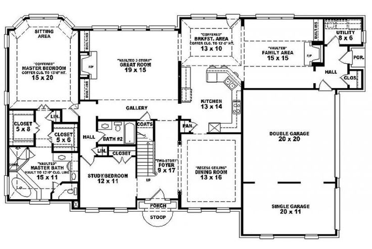 6 bedroom single family house plans house plan details - Single story four bedroom house plans ...