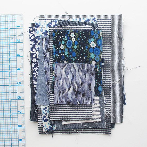 Blue Fabric Pieces Bag 4  Scrap bag with a variety of blue