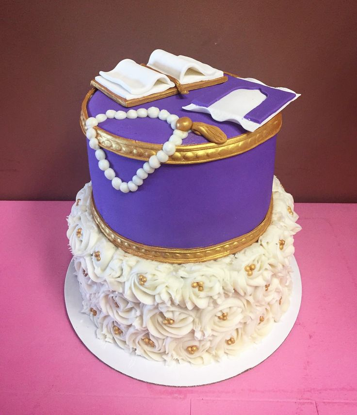 Purple & white rosette cake by Frostings Bake Shop