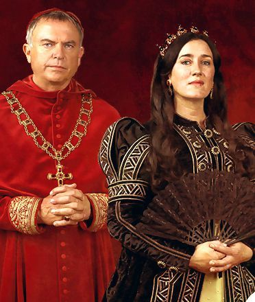 Sam Neill (Thomas Wolsey) and Maria Doyle Kennedy (Catherine of Aragon).