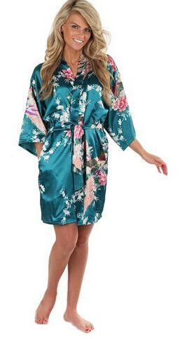 10色プラスサイズ3xlレディース花パジャマサテン花嫁介添人ネグリジェドレス日本の着物ローブd151