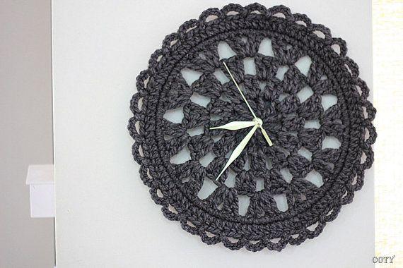 clock dark gray chrochet doily clock for home, round clock, home decor