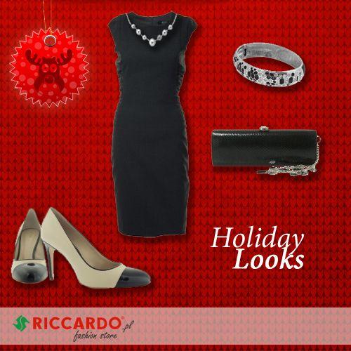 Holiday Season Look. Elegant, smart, festive: little black dress, high heels, clutch and subtle jewelery.  http://www.riccardo.pl/zestaw-swiateczny