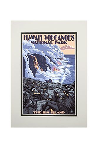 The Big Island, Hawaii - Lava Flow Scene (11x14 Double-Matted Art Print, Wall Decor Ready to Frame)