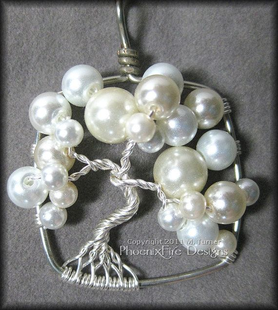 June Bride - Wedding Bubble Tree in White and Ivory Glass Pearls Set in Silver Wire