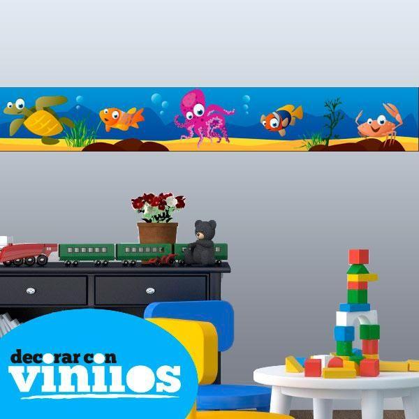 Cenefa Infantil - Bajo el mar : Cenefas Infantiles - Decorar con vinilos - Vinilos decorativos  Mira más cenefas infantiles en http://www.decorarconvinilos.com/vinilos-infantiles/cenefas-infantiles