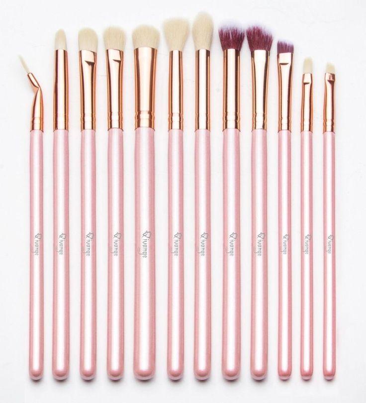 12pc Professional Makeup Brush Set Eyeshadow Concealer Eyeliner Angled Brushes #makeupbrushes