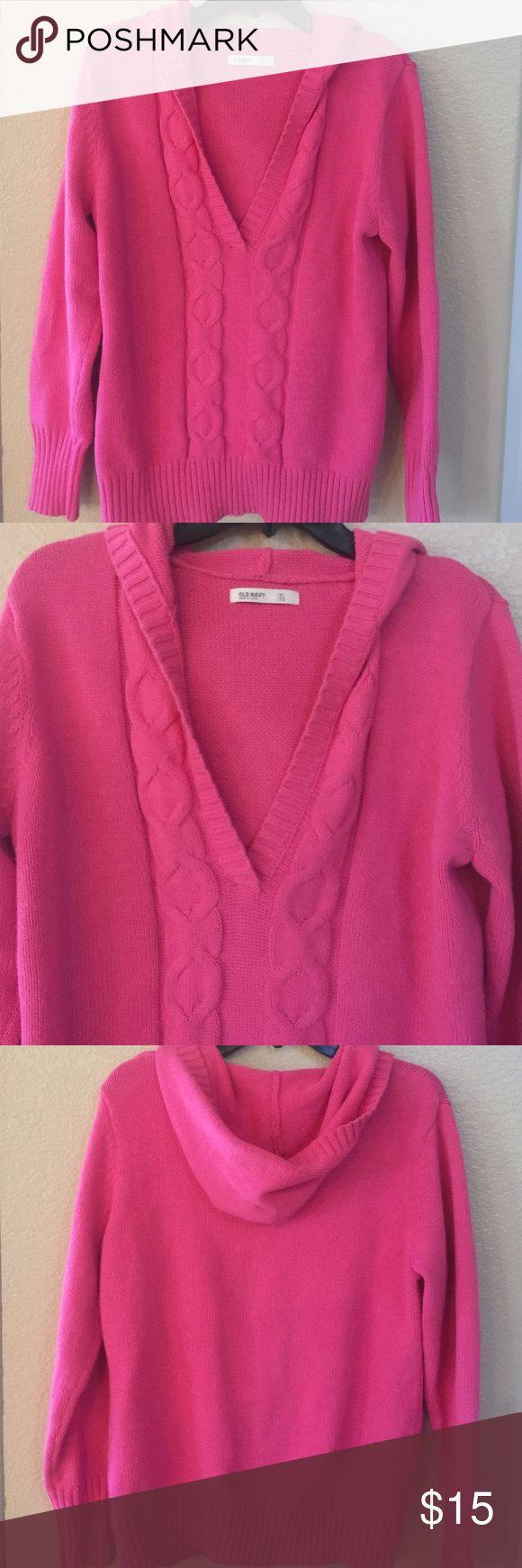 "Old Navy Pink Hoodie Sweater XL Old Navy Pink Hoodie Sweater XL, Chest 42"", Length 26"", V-Neck. Old Navy Sweaters"