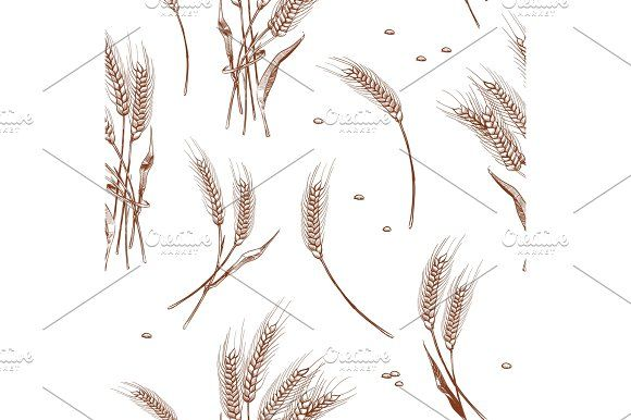 Organic wheat harvest, bakery seamless background by MicroOne on @creativemarket