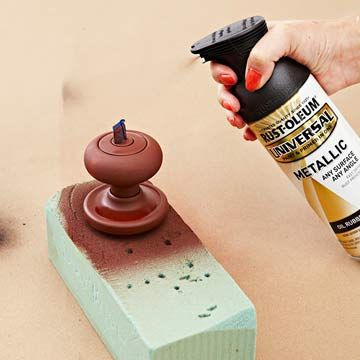How To: Update Door Hardware with Paint (I like the idea of putting it in foam to secure it while painting)