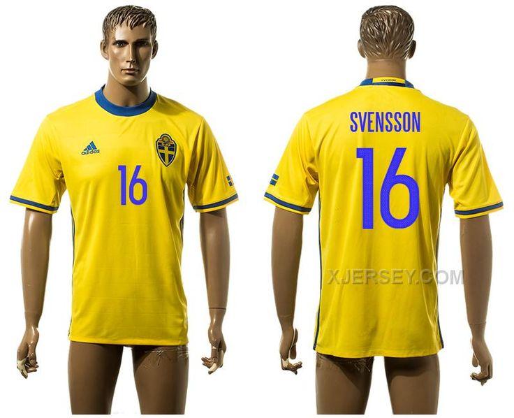 32e638329 ... 2016 European Cup Sweden Home Ibrahimovic Yellow Mens Soccer A+ Shirt  ...