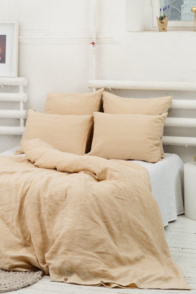 Sweet Dreams Guaranteed Sand Color Linen Duvet Cover Bring A Classic Elegant Look To Your White Linen Bedding Bed Linen Design Matching Bedding And Curtains
