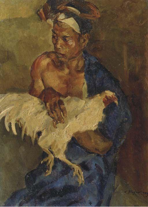 Willem Dooijewaard - Balinese man met een vechthaan